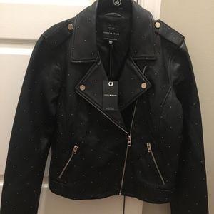 Lucky Brand Pin Dot Black Moto Leather Jacket M